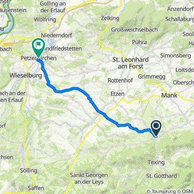Hauptstraße 6, Kirnberg an der Mank nach Ybbser Straße 2, Petzenkirchen