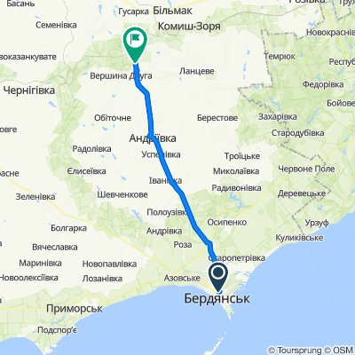 От вулиця Володимира Довганюка 78, Бердянськ до Т0815, Олексіївка
