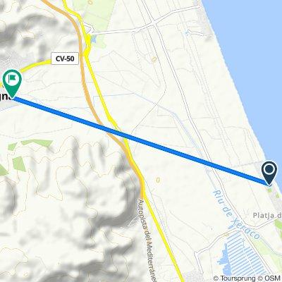 De Avenida de Mota, 26, Xeraco a Calle del Metge Paco Valiente, 115, Tavernes de la Valldigna