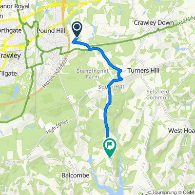 Old Hollow, Pound Hill, Worth, Crawley to Paddockhurst Lane, Balcombe, Haywards Heath