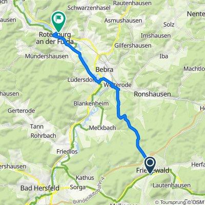 Motzfelder Straße 12, Friedewald nach Waldweg 5, Rotenburg an der Fulda