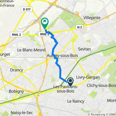Itinéraire à partir de 95 Allée Robillard, Les Pavillons-sous-Bois