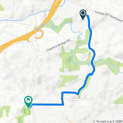 Route from 2206 Cheshire Bridge Rd NE, Atlanta