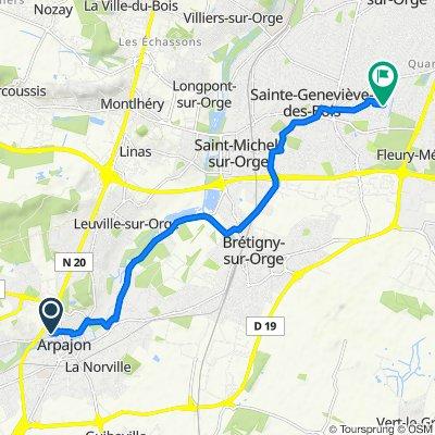 De 2 Rue des Grouaisons, Arpajon à 60 Avenue de la Liberté, Sainte-Geneviève-des-Bois
