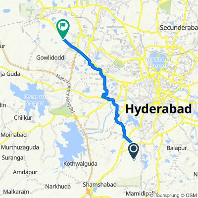 Unnamed Road, Hyderabad to Hyderabad