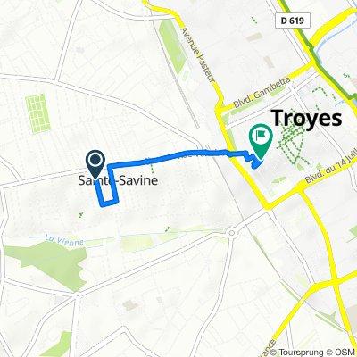 De 1B Rue Aristide Briand, Sainte-Savine à 39 Place Jean Jaurès, Troyes
