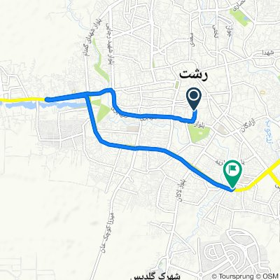 Route from افق, رشت