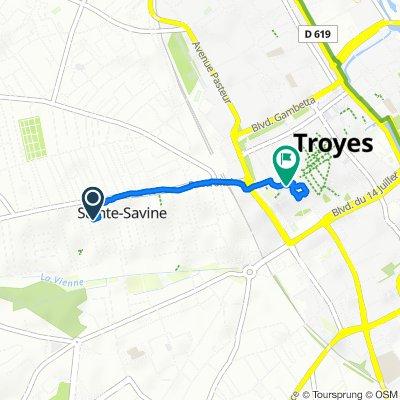 De 6 Rue Aristide Briand, Sainte-Savine à 19–29 Place Jean Jaurès, Troyes