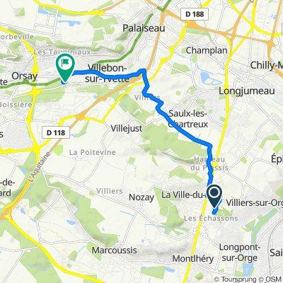 De 14 Al8 allee Claude Debussy, Longpont-sur-Orge à 1–3 Rue des Bruyères, Villebon-sur-Yvette