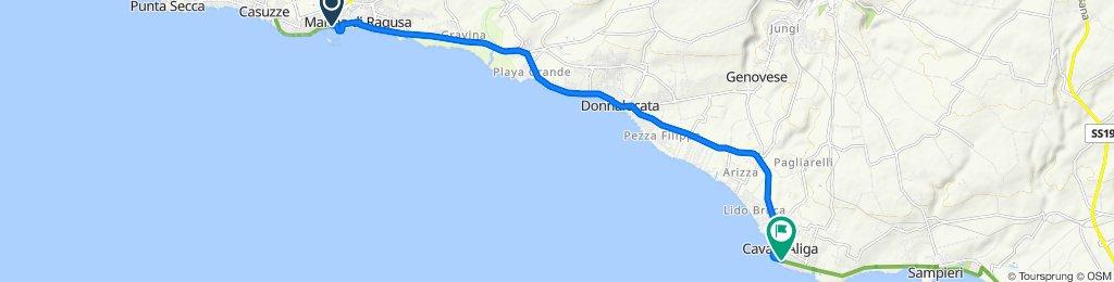 Via Cavaliere Luigi Bisani 4–14, Ragusa to Viale della Pace 77, Scicli