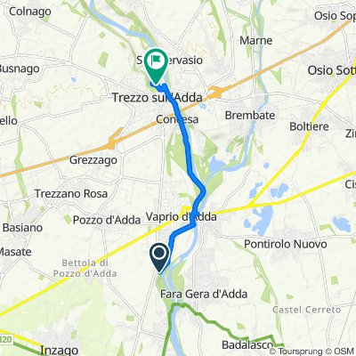 Da Alzaia Martesana, Vaprio d'Adda a Via Barnabò Visconti 13, Trezzo sull'Adda