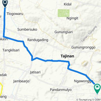 Jalan Mayjen Sungkono 75b, Kecamatan Kedungkandang to Jalan Suroyudo 155, Kecamatan Tajinan