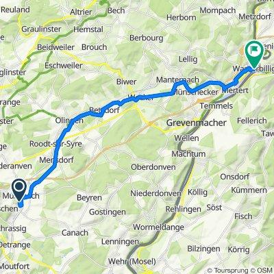 Um Schennbierg 21, Schüttringen nach Route d'Echternach, Mertert