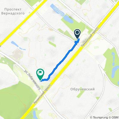 От улица Кравченко 4, Москва до улица Лобачевского 2, Москва