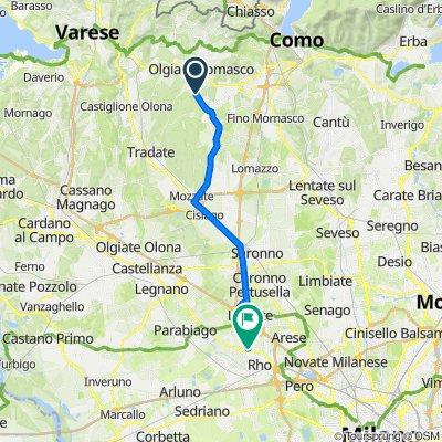 Da Via Guglielmo Marconi 44, Beregazzo con Figliaro a Via Biringhello 104, Rho