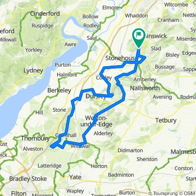 50 mile route from Whiteshill to Tytherington, Wotton under Edge & back