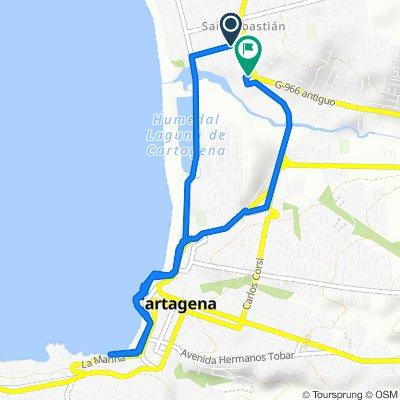 De Sexto Oriente Playa 106, Cartagena a Avenida El Peral 19, Cartagena