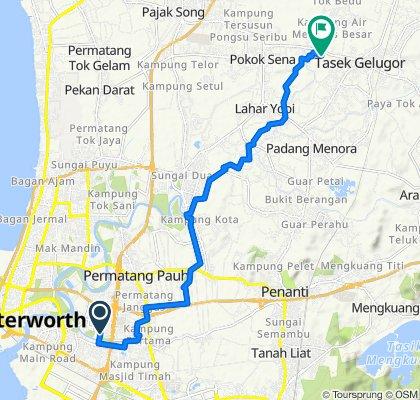 Route from 29, Lorong Lampam 3, Bandar Seberang Jaya