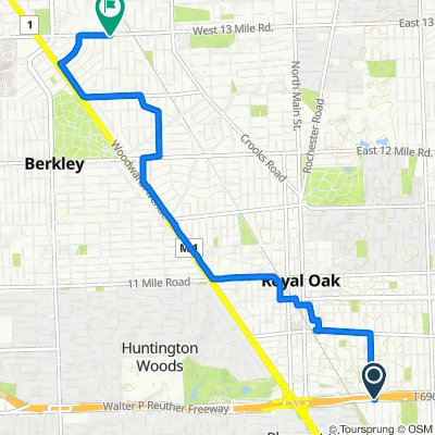 700–718 E 10 Mile Rd, Royal Oak to 3278–3298 Benjamin Ave, Royal Oak