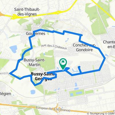 De 91 Promenade des Golfeurs, Bussy-Saint-Georges à Mail du Promeneur, Bussy-Saint-Georges