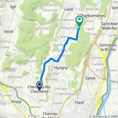 Itinéraire à partir de 49 Impasse des Petouges, Chevagny-les-Chevrières