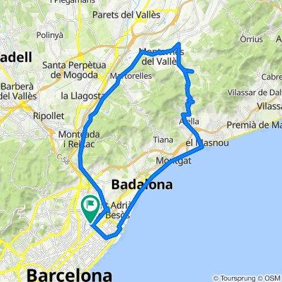 Sant Martín - Sant Fost de Campsentelles - Montornes - Vallromanes - Alella - Bodegas - Badalona - Playa - Forum