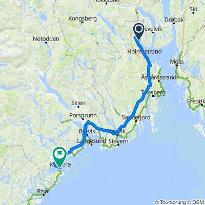 Leg B: Kallaveien 17, Sande to P.A. Heuchs gate 31–35, Kragerø