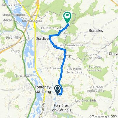 De 41 Lotissement des Hautes Vernes, Ferrières-en-Gâtinais à 10 Rue de la Queue de l'Étang, Dordives