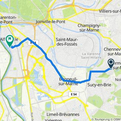 De 2 Avenue Élisabeth Vigée-Lebrun, Ormesson-sur-Marne à 10 Rue du Maréchal de Lattre de Tassigny, Alfortville