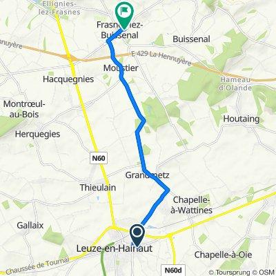 De Pas du Mont d'Or 69, Leuze-en-Hainaut à Grand'Place 18, Frasnes-Lez-Anvaing
