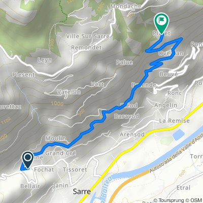 Da Frazione Fochat 80, Sarre a Frazione Piolet in Località Chesallet 1, Sarre