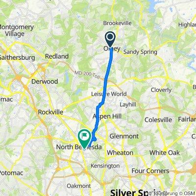 3500 Olney Laytonsville Rd, Olney to 5144 Nicholson Ln, Kensington