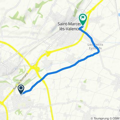 De 1 Route d'Alixan, Valence à Rue Pierre de Coubertin, Saint-Marcel-lès-Valence