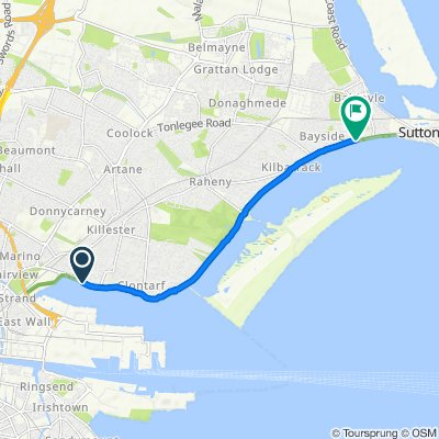 Route from 77–83 Clontarf Road, Dublin 3