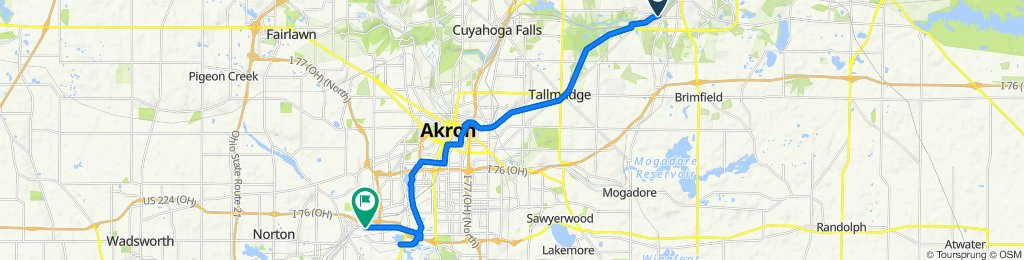 Route to 1365 W Waterloo Rd, Akron