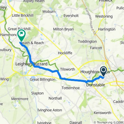 Route from 67 Brunel Road, Luton