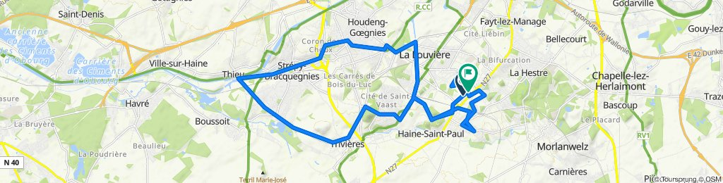 De Avenue de la Mutualité 40–56, La Louvière à Rue du Champ Mêlé 2, La Louvière