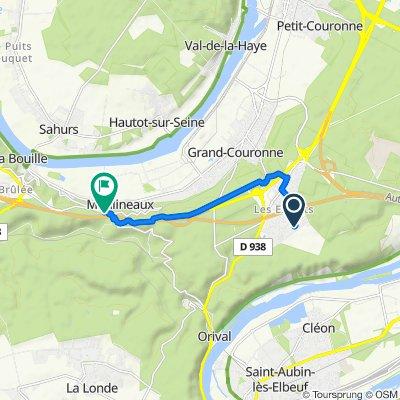 De Avenue des Poiriers 29, Grand-Couronne à Rue Lieutenant Jacques Hergault 1061, Moulineaux
