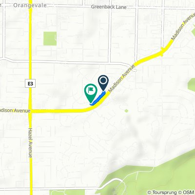 9181 Madison Ave, Orangevale to 5405–5409 Beauregard Way, Orangevale