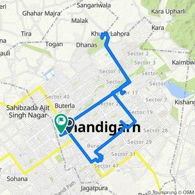 sector 52 chandigarh to shambhu barrier punjab