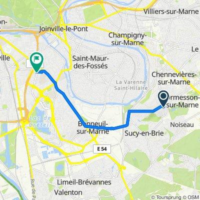 De 2 Avenue Élisabeth Vigée-Lebrun, Ormesson-sur-Marne à 107–113 Avenue du Général de Gaulle, Créteil