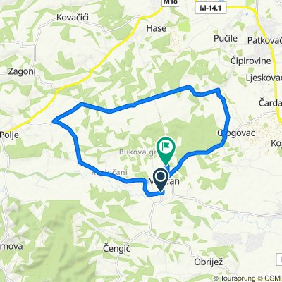 Modran preko donjeg Suvog Polja,pa Jabanuša,Peare kao dio Pučila,zatim desno pa Glogovac i na kraju lokacija Moja tegla u Bukovoj gredi.