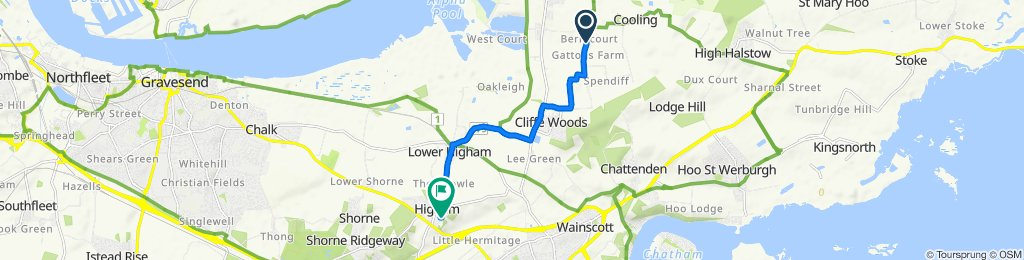 Redbarn, Cooling St, Rochester to 25 Telegraph Hill, Rochester