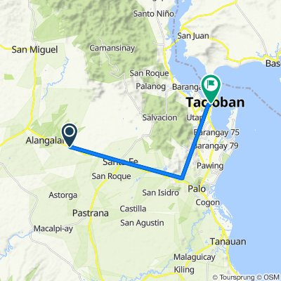 Route from Palo-Carigara-Ormoc Road, Alangalang