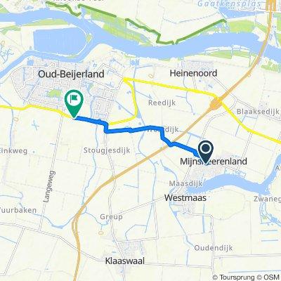 Molenvlietlaan 33, Mijnsheerenland naar Kwakscheweg 3, Oud-Beijerland