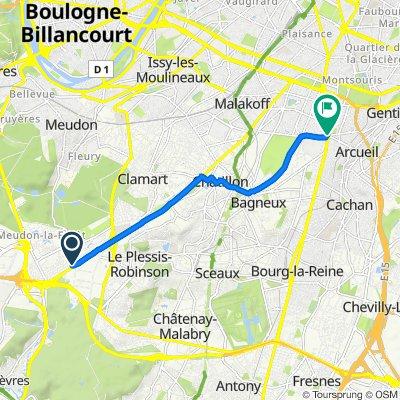 De 4 Route du Pavé Blanc, Clamart à 1 Avenue Aristide Briand, Arcueil