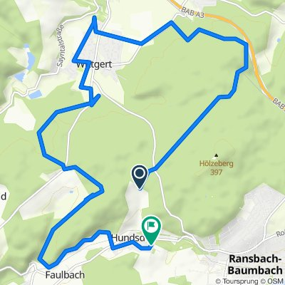 Route nach Friedhofstraße 15, Hundsdorf