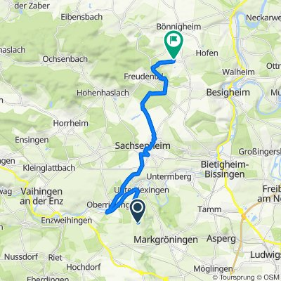 Bergweg, Markgröningen nach Vogelsangweg 6, Erligheim