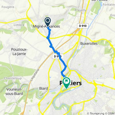 De Rue de la Creuzette 11, Migné-Auxances à Rue du Général Roger Félix Chêne 2, Poitiers