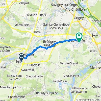 De Avenue de la Mare aux Bourguignons 24 A, Égly à Rue des Perdrix 12, Bondoufle